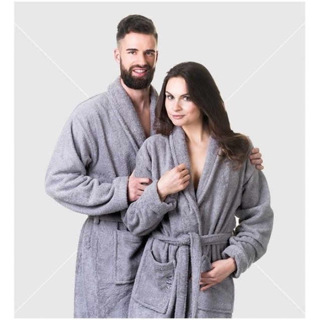 NordicSpa bathrobe unisex, 100% cotton, grey, L size